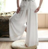 Ladies Loose Fit Wide Leg Trousers Womens Casual Linen Cotton Pants Plus Size WD