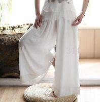 Ladies Loose Fit Wide Leg Trousers Womens Casual Linen Cotton Pants Plus Size WD