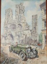 Vintage Antique 1930s Blower Bentley Automobile Watercolor Painting Racing Auto