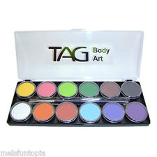 TAG Body Art 12 x 10g Regular Palette & 2 Brushes, Face and Body Paint Make up