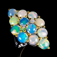 Beauty Rainbow6ct+ Natural Opal 925 Sterling Silver Ring Size 9/R121779