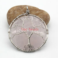 Silver Plated Wire Wrapped Amethyst Rose Quarta Opal Stone Tree of Life Pendant