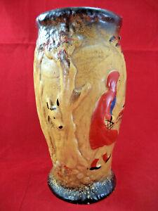 Antique Ceramic Vase Featuring Little Red Riding Hood Wrap-Around Relief Design