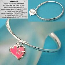 Mother Mom Mama Ma Family Prayer Love Pink Heart Mobius Twisted Bracelet #104-A