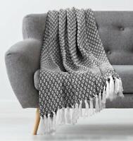 "Knit Blanket Diamond Chevron Geometric Decorative Cream Throw Tassels 50"" x 60"""