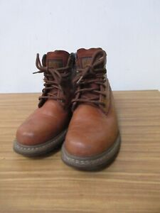 FANTASTIC CATERPILLAR CAT TAN BROWN LEATHER BOOTS SIZE 6.