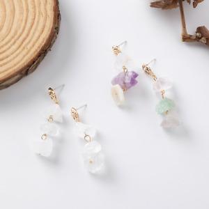 2 Designs of LadiesNatural Stone Drop Stub Earrings  925 SterlingSilver Pin Gift