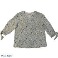 Rose & Rhyme womens Size L Blue White Floral V Neck 3/4 sleeve W/Tie Cuff Blouse