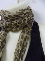 Marks & Spencer M&S Ladies Womens Scarf Brown Gold Leopard Print NEW BX19