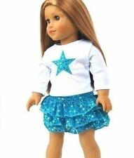 Skirt Set Teal Blue Star Top Outfit fits 18 inch American Girl Doll Clothes
