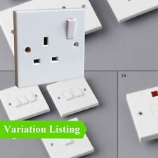 White Electrical Wall Sockets, Switches & Cooker Spurs. Square Edge Menu Options