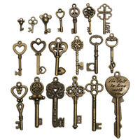 5 Antique Vintage Style Large Bronze Key Charms Pendant 002