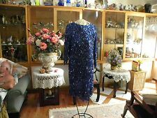 COBALT BLUE BEADED & SEQUINED SIZE L  100% SILK