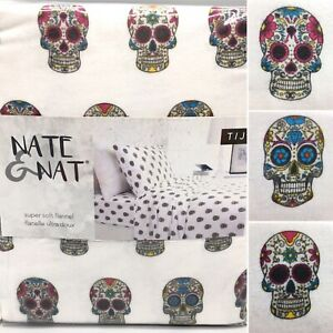 Nate & Nat Halloween Sugar Skulls KING Flannel Sheet Set Day Of The Dead NEW