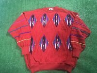 VTG St Croix Lovenhearts Red Colorblock 3D Textured Biggie 90s Knit Sweater XL