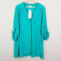 [ BEME ] Womens Piped Shirt Top in  Aqua Colour NEW + TAGS | Size AU 20 or US 16