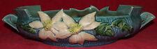 LARGE ROSEVILLE ART POTTERY BLUE CLEMATIS CONSOLE BOWL #460-12 FLORAL PLANTER