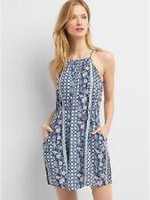 NEW Gap Womens Halter Floral Tie Shirtdress Sleeveless Dress Blue M $69