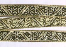 "Jacquard Ribbon Trim Metallic Gold & Black 1¼"" Wide"