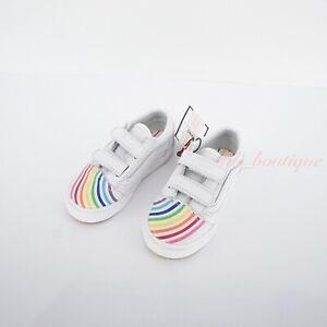 No Box Vans Toddler Old Skool V Shoes Flour Shop Leather Rainbow White Size 6C