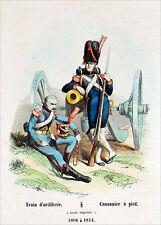 TRAIN d'ARTILLERIE et CANONNIER à PIED de 1806 à 1814 - Gravure couleur du 19e s