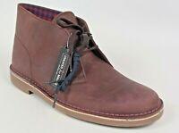 Clarks Men's Bushacre 2 Chukka Boots. Size 8 Aubergine Leather NEW
