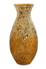 Big Tall Mosaic Floor Vase,  31 inch, Terracotta Yellow Tan Glass Mosaic Pieces