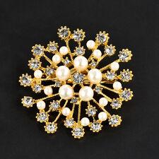 Wedding Bridal Rhinestone Crystal Silver Gold Flower Bouquet Brooch Pin Jewelry