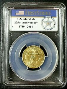 2015-W PCGS MS70 $5 Gold US Marshals Service Gold 225th Anniversary COA & OGP