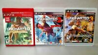 Uncharted 1 2 3 Game Lot - PS3 Sony Playstation 3 COMPLETE Drake's Thieves Decep