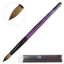 Pana Professional 100% Kolinsky Acrylic Nail Art Brush with Purple Wood Size 12