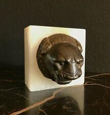 Antique GRAND TOUR White ONYX Bronze ROMAN LION PLAQUE Neoclassical 19th century