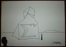 Pierre Demarne encre sur papier signée art abstrait surréalisme abstraction