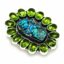 Turquoise - Rock, Peridot Gemstone Silver Fashion Jewelry Ring Size 8 KR-12213