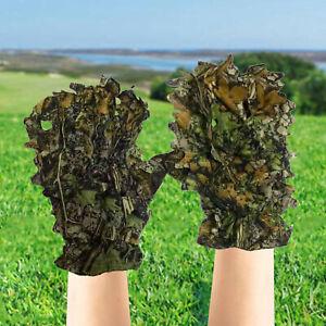 3D Camo Handschuhe, Outdoor Tarnung Jagdhandschuhe Blättertarnanzug Woodland