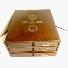 Ancien Meuble de mercerie Boîte Bois 3 tiroirs Fil Cartier Bresson ( DMC )