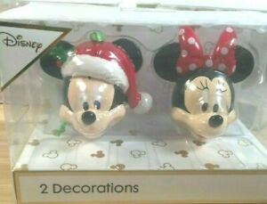 DISNEY MICKEY & MINNIE BOXED PAIR HANGING CHRISTMAS DECORATIONS