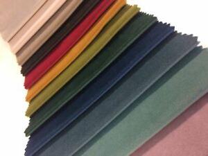 Velvet soft Fabric - Plain Premium Upholstery Quality, 14 multi-colour listing.