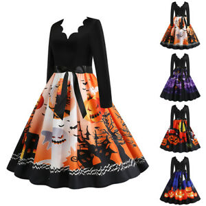 Womens Halloween Maxi Dress Party Swing Dress Fancy Dress Costume Long Dresses