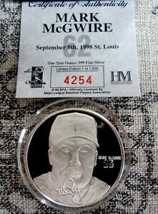 999 Silver Bullion Round Mark McGuire Ltd. Edition #4254 of 7500 COA, Box
