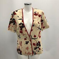 JACQUES VERT Cream Red Floral Smart Occasion Short Jacket Women Size UK 12 34750