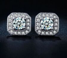 White Gold Silver Princess Crystal/Cubic Zirconia Diamonte Round Halo Earrings