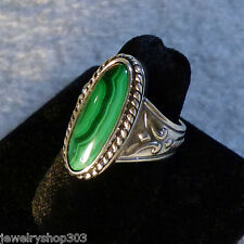 Natural Malachite Oval Cabochon Cast Sterling Silver Ring Bezel Mount Size 7