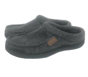 Dearfoams Mens Slip On Slippers Dark Heather Grey Size 9/10 Padded Insole Comfy