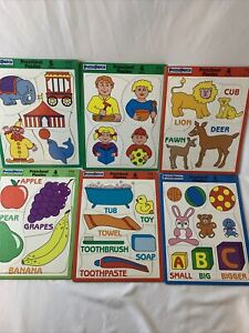 Lot of 6 Vtg Puzzle Patch Preschool Frame Board: Animals, Fruit, Circus, ABC