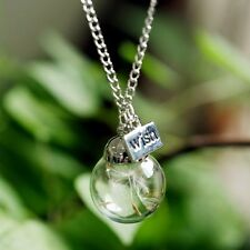 Fashion Real Dandelion Seeds Lucky Glass Wishing Bottle Pendant Necklace Jewelry