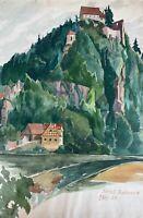 Aquarell Impressionist Schloss Rabeneck Fränkische Schweiz signiert datiert