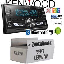 Kenwood Autoradio für Seat Leon 1P silber Bluetooth/USB/VarioColor KFZ Einbauset