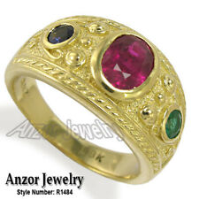 Ruby Sapphire Emerald Ring #R1484 Etruscan Byzantine Style Men's 18k Gold