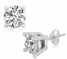 2.00 Ct Diamond Earrings Stud Solid 14KT White Gold Brilliant Round Cut VVS1/D 5